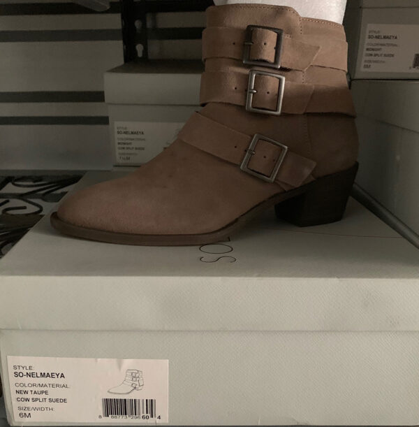New Items Sole Society Tan Suede Ankle Boot with Buckles