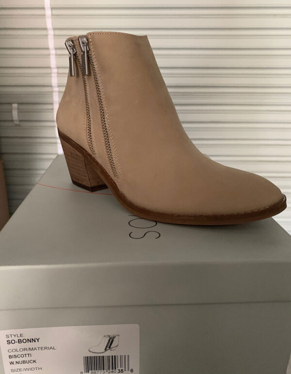 New Items Sole Society Tan Suede Ankle Boot with Zippers