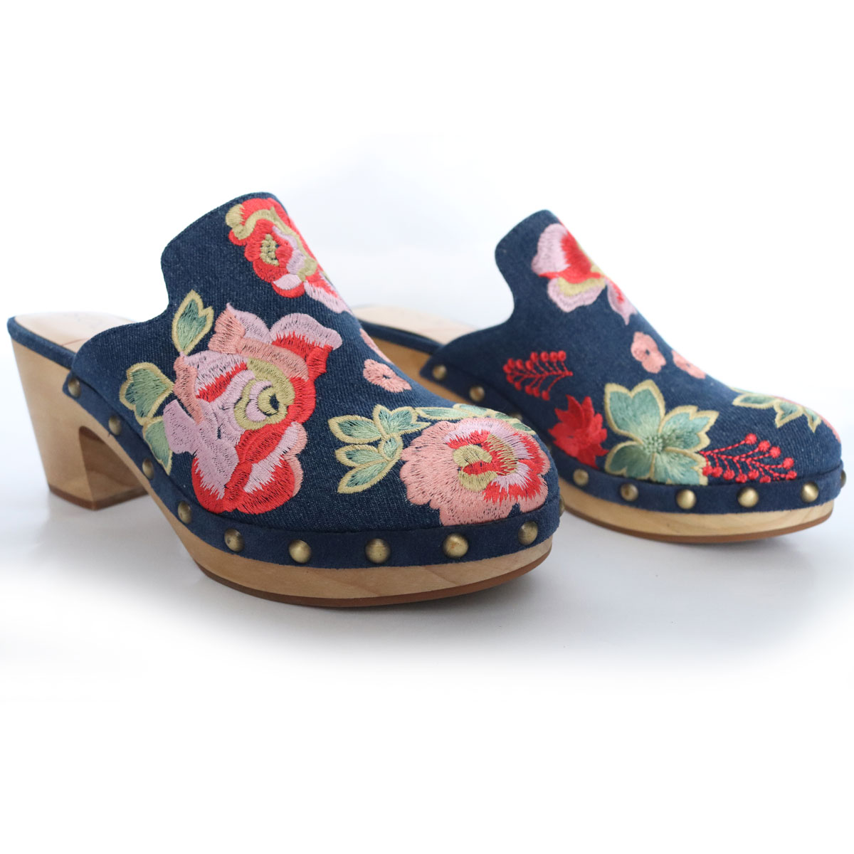 Madelina Boho Clogs Denim Floral Embroidered Studded