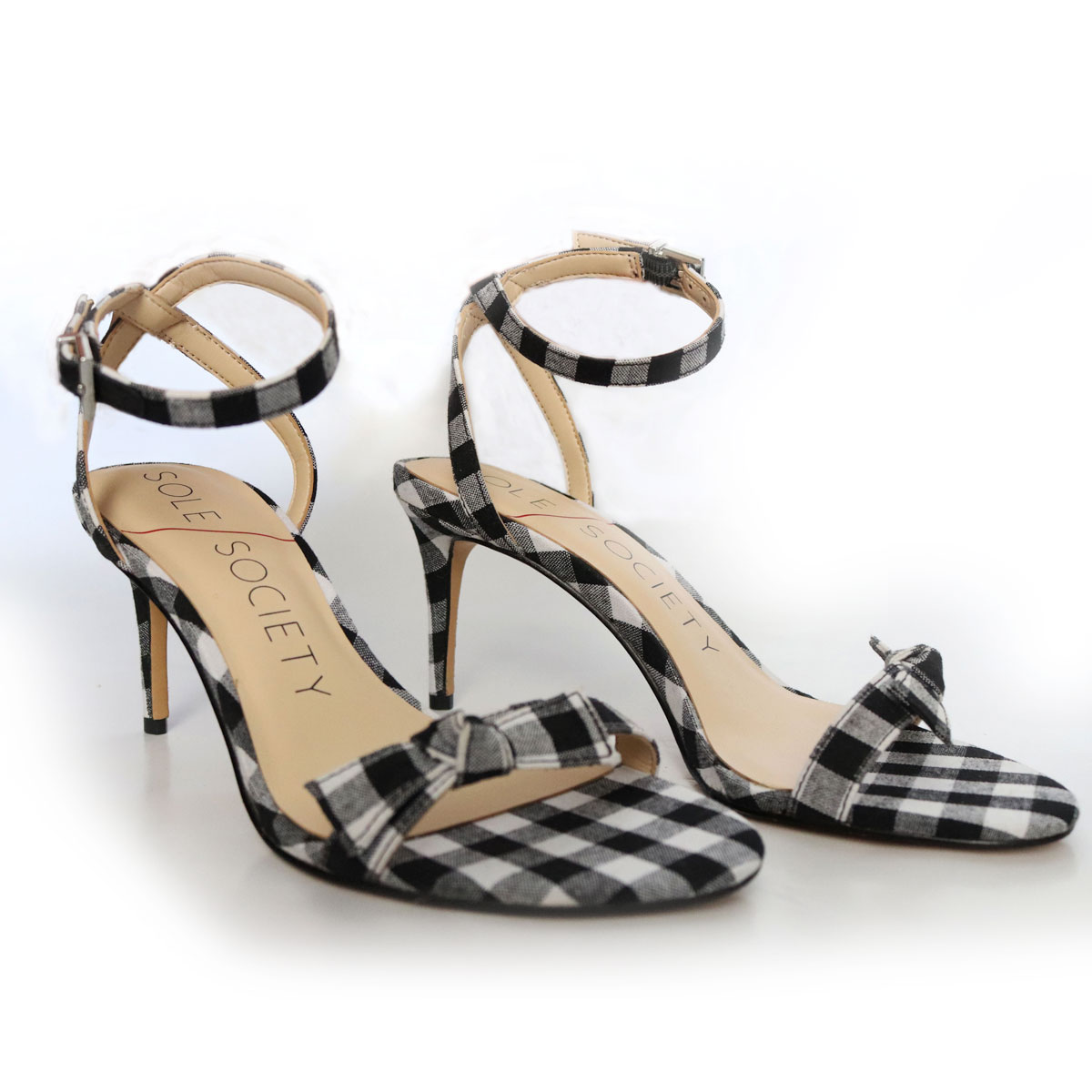 Sole Society Black Plaid Strappy Sandal New Items