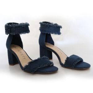 Blue Jean Ankle Strap Heels