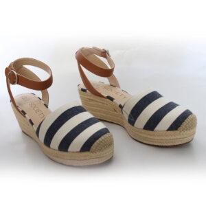 Blue Stripe Wedge Sandal Espadrilles New Items