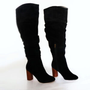 Sole Society Suede Black Over the Knee Boot