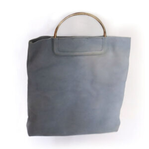 Purses Blue Suede Bag with Handles