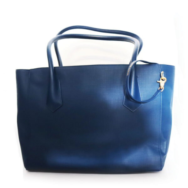 Purses Blue Leather Bag with Handles