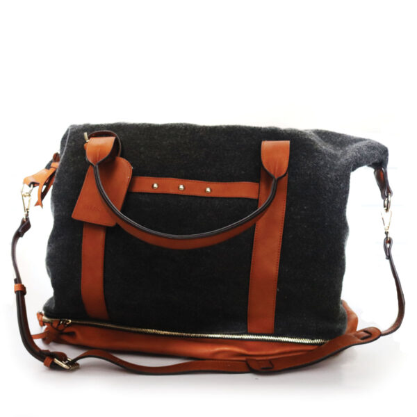 Purses Charcoal Bag with leather Trim