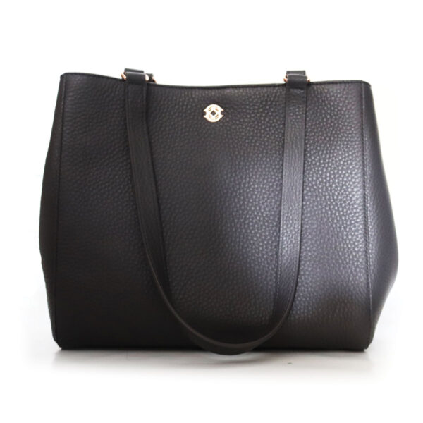 Purses Black Leather Bag with Handles
