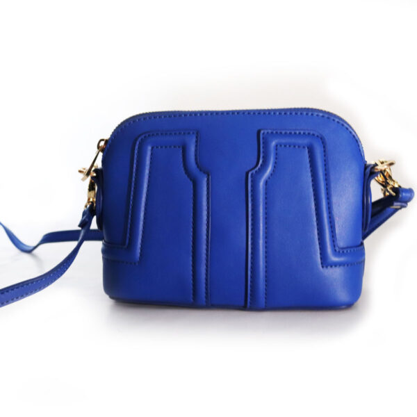 Purses Blue Leather Clutch with Strap